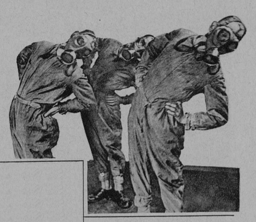An illustration published in the Hakkapeliitta magazine shows three men wearing boilersuits and gas masks during a drill. The men are standing with their hands on their hips, bending their upper body to the side. The illustration is in black and white.