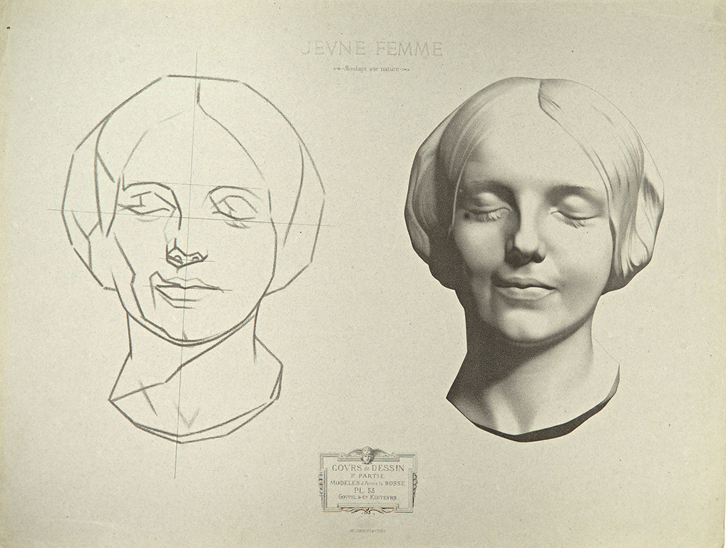 The page features two printed drawings: a sketch of a woman's face and a careful drawing of the same face.