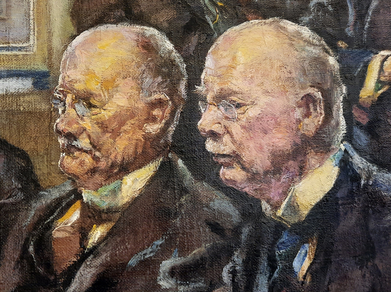 A cropped detail of the right-hand corner of the painting showing the faces of two older men in almost profile. The brushstrokes and the texture of the canvas are visible.