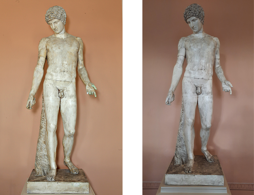 Two photos of the statue of Antinous taken from the front, showing a standing nude male figure.
