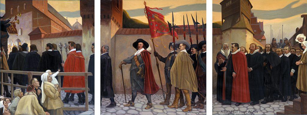 Akatemian arvohenkilöt ovat matkalla Turun tuomiokirkkoon. Maalauksessa keskellä Per Brahe punaisessa viitassaan. Mukana myös sotilaita ja pappeja mustissa kaavuissa. Yleisö seuraa sivulla kulkueen etenemistä.