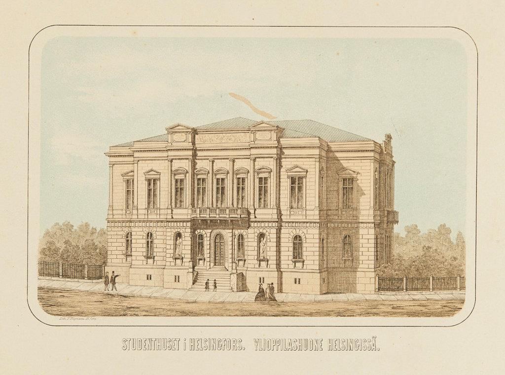 Piirros ylioppilastalosta, jonka takana on puutarha. Rakennuksen edessä on leveä katu ja 1800-luvun lopun muodin mukaisesti pukeutuneita ihmisiä.