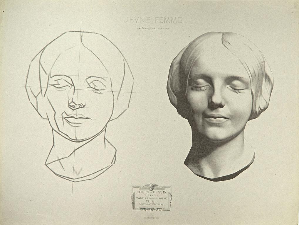 Sivulla on kaksi painettua piirustusta: hahmotelma naisen kasvoista ja samat kasvot tarkasti piirrettynä.
