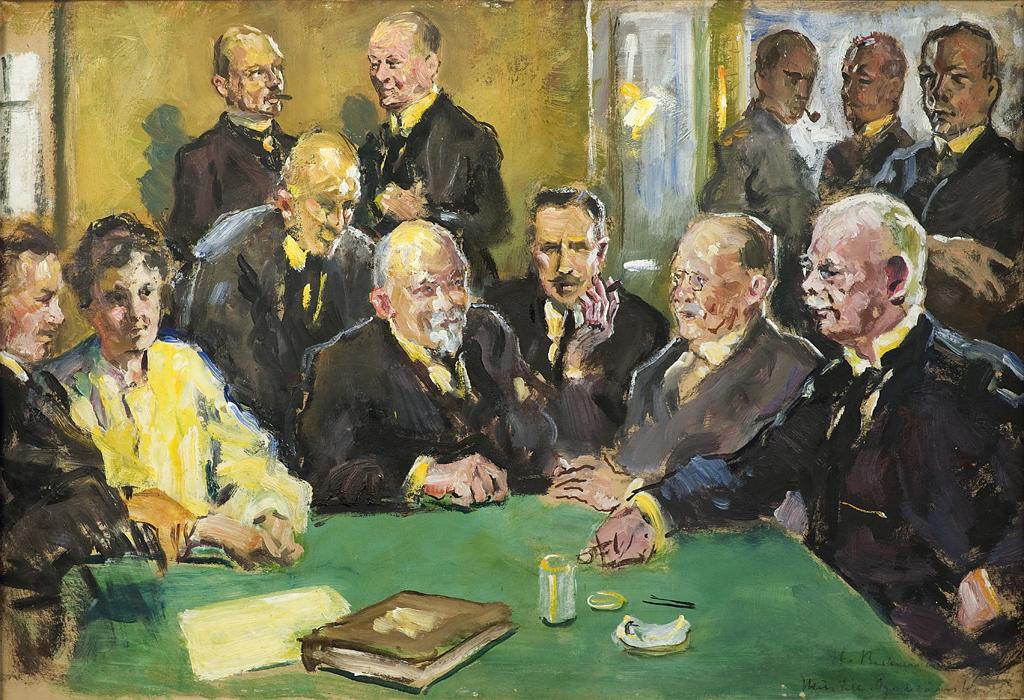 Hieman luonnosmaisesti maalatussa teoksessa on lopullisen maalauksen tapaan 11 mieshenkilöä ja yksi naishenkilö kuvattuna sisätilassa. Miehet tummiin vaattesiin pukeutuneina ja naishenkilö vaaleassa asussa. Etualalla vihreä pöytä, takana ikkunoita ja kellertävä seinä.