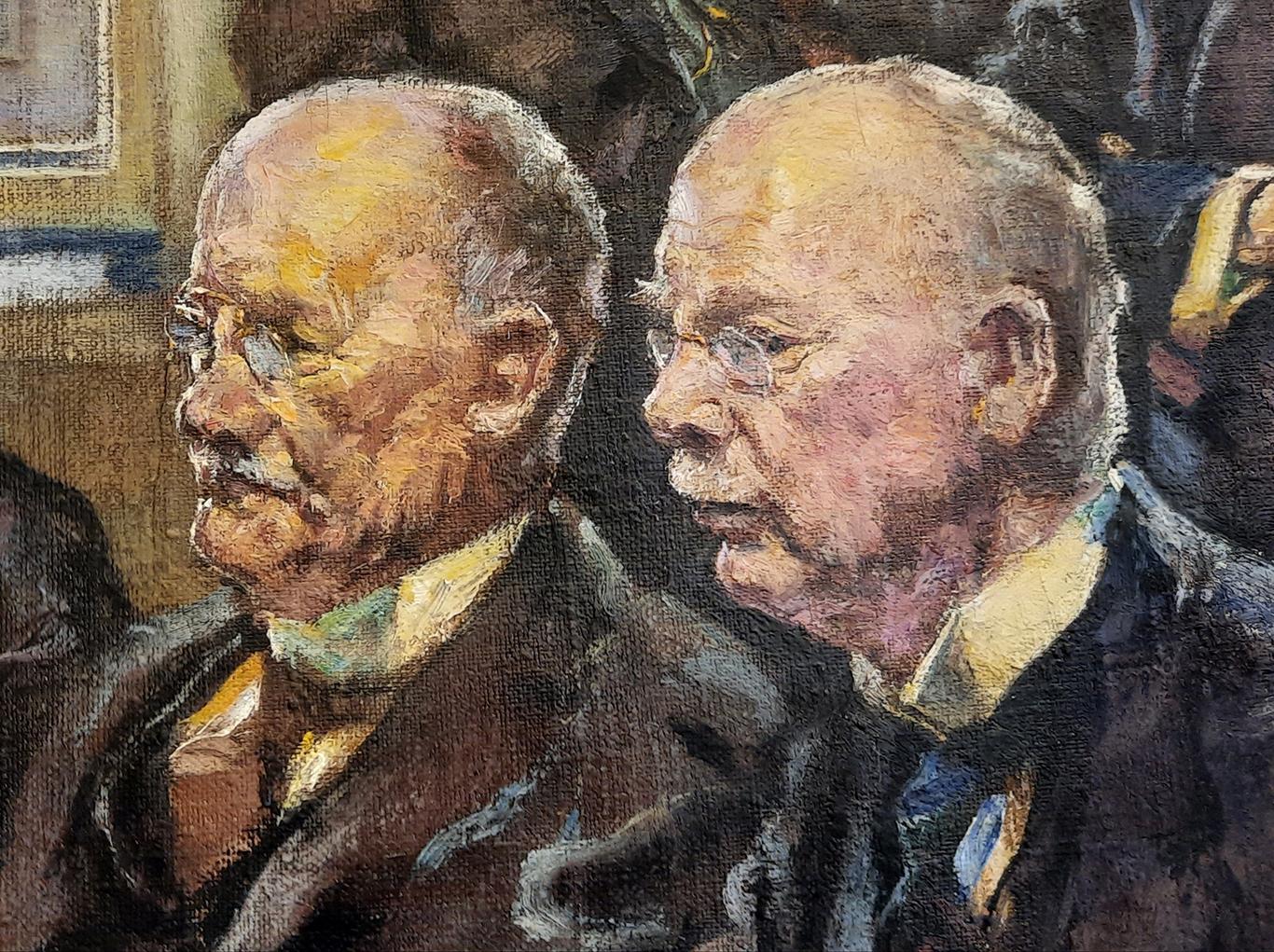 Rajattu yksityiskohta maalauksen oikeasta reunasta: kahden iäkkään mieshenkilön lähes sivusta kuvatut kasvot. Siveltimenvedot ja maalauksen pohjakangas erottuvat.