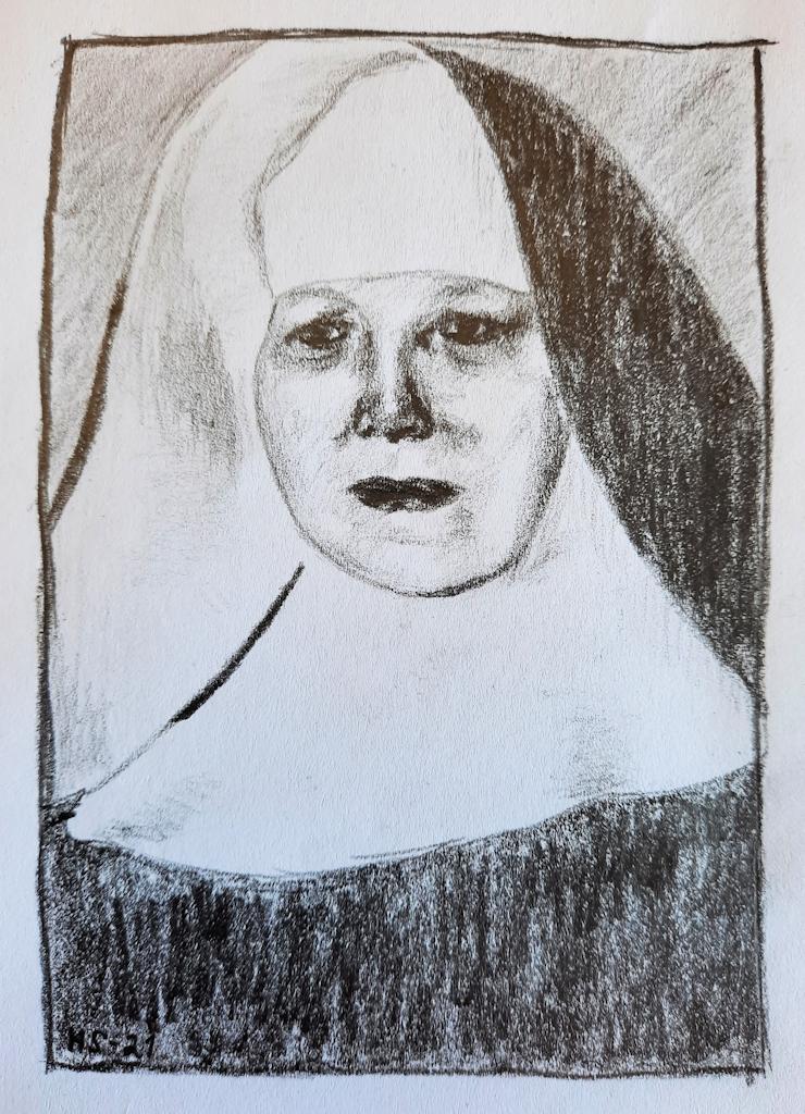 Lyijykynäpiirroksena toteutettu rintakuva nunnasta, jolla on yllään mustavalkoinen nunnanasu. Päätä peittävä huivi on päältä musta ja alapuolelta valkoinen.