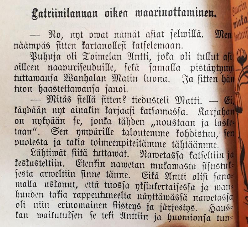 Kuvassa on fraktuuratekstiä vuoden 1899 kalenterissa. Tekstin sisältö on lyhennettynä yllä.