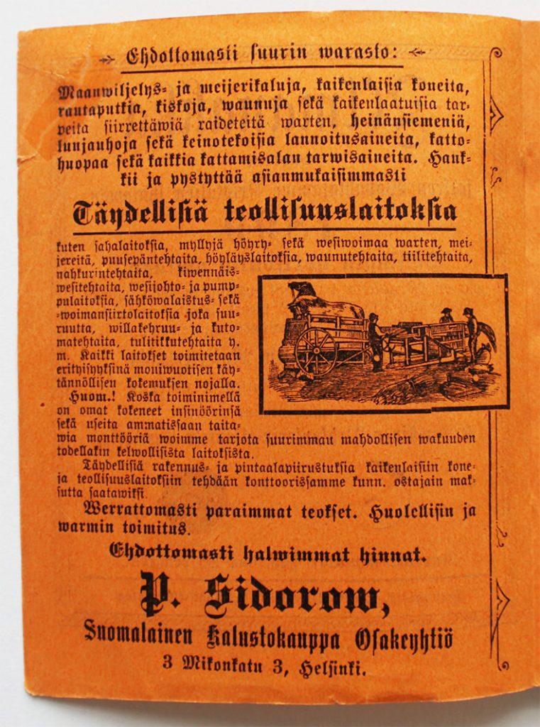 Kuva oranssista kalenterisivusta, jossa on mainos fraktuuratekstillä, sekä kuvituskuva, jossa esitellään kaupattavien työvälineiden käyttöä. Kuvassa on kolme miestä, kärryjä ja lyhteitä.