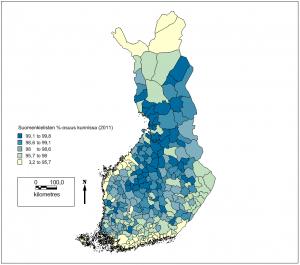 Suomenkielisten osuus kunnissa vuonna 2011.