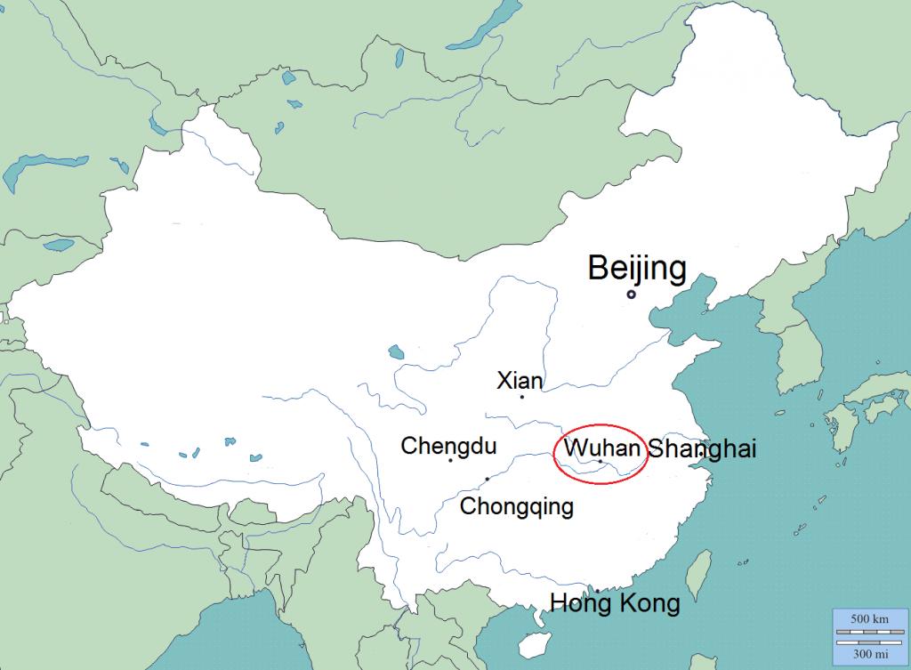 Wuhan sijaitsee Keski-Kiinassa Jangtsen varrella noin 1000 km Pekingistä etelään ja noin 400 km Shanghaista länteen. D-maps: