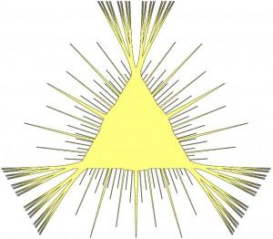 An example of Kakeya Needle Set.