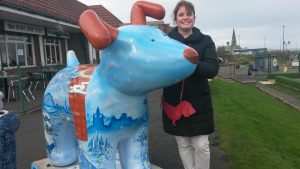 Suzie with a Snow Dog in the North East of England.