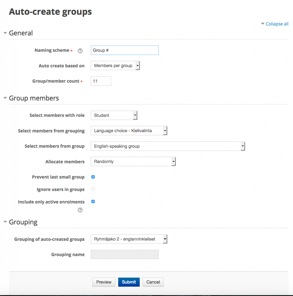 Settings for automatically creating small groups of students on Moodle