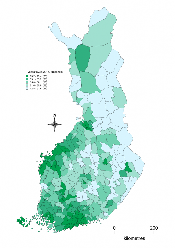 Kuva 1. Työssäkäyvien prosentuaalinen määrä kunnittain 2015.