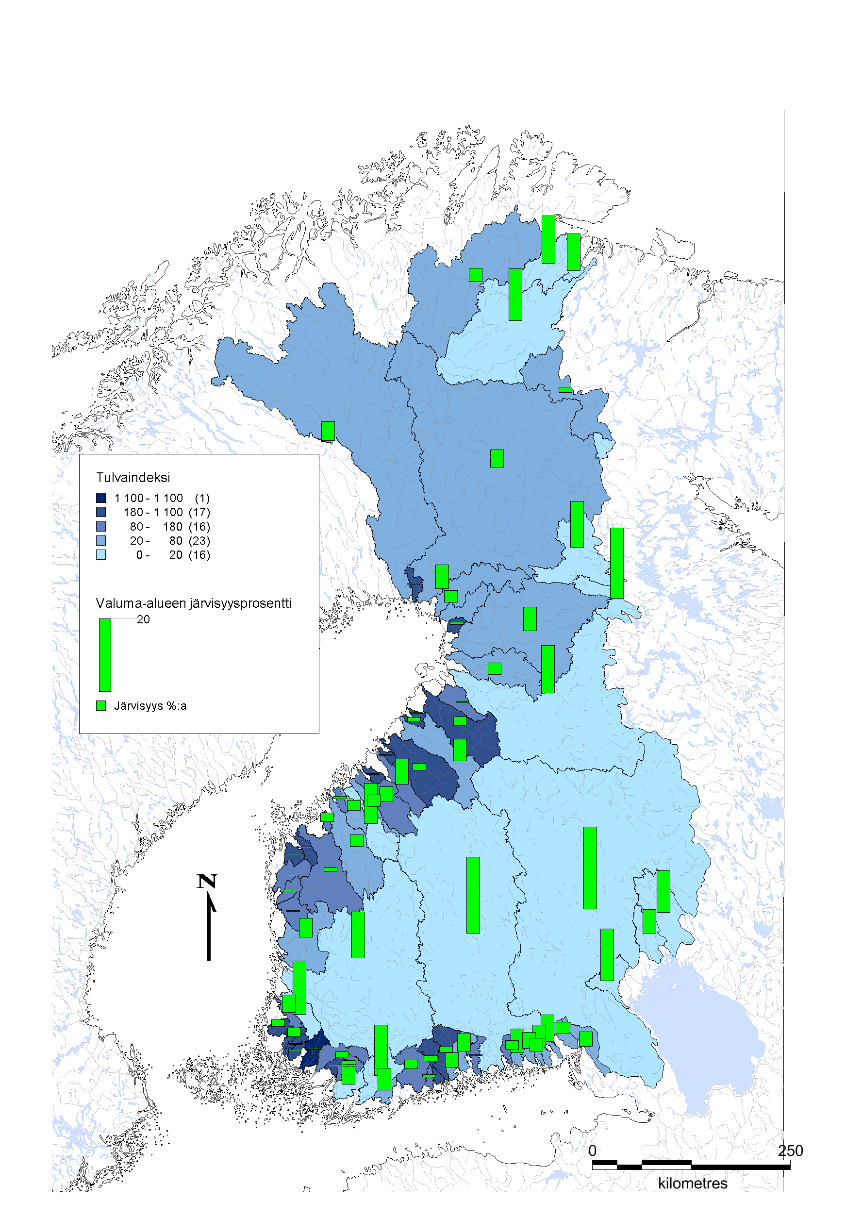 Kuva 1. Suomen tulvaindeksi- sekä järvisyyskartta valuma-alueittain.