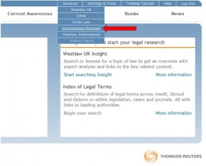 Screen capture: WestlawNext - International Materials can be accessed from WestlawUK