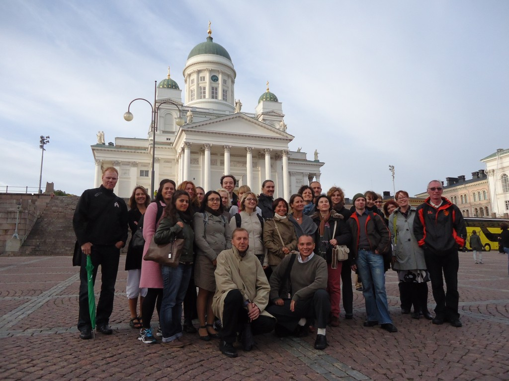 Guided tour, Senate Square, Helsinki Cathedral on the background