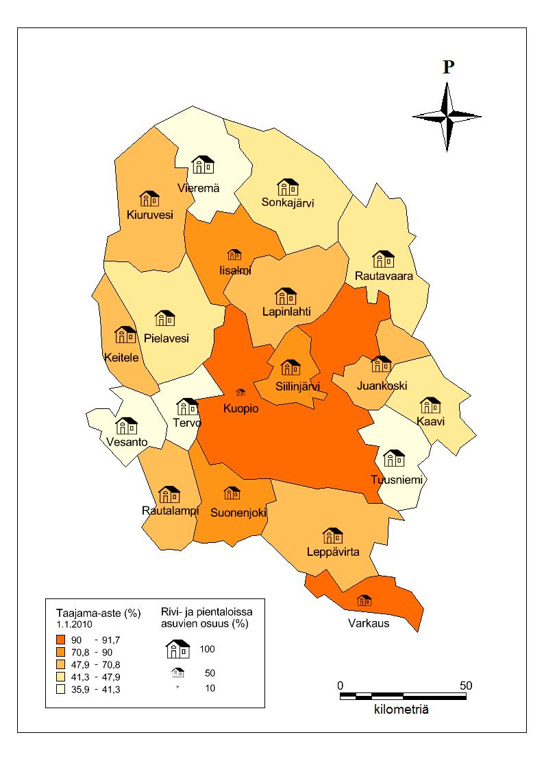 Taajama-aste (%) ja rivi- ja pientaloissa asuvien osuus Pohjois-Savon kunnissa