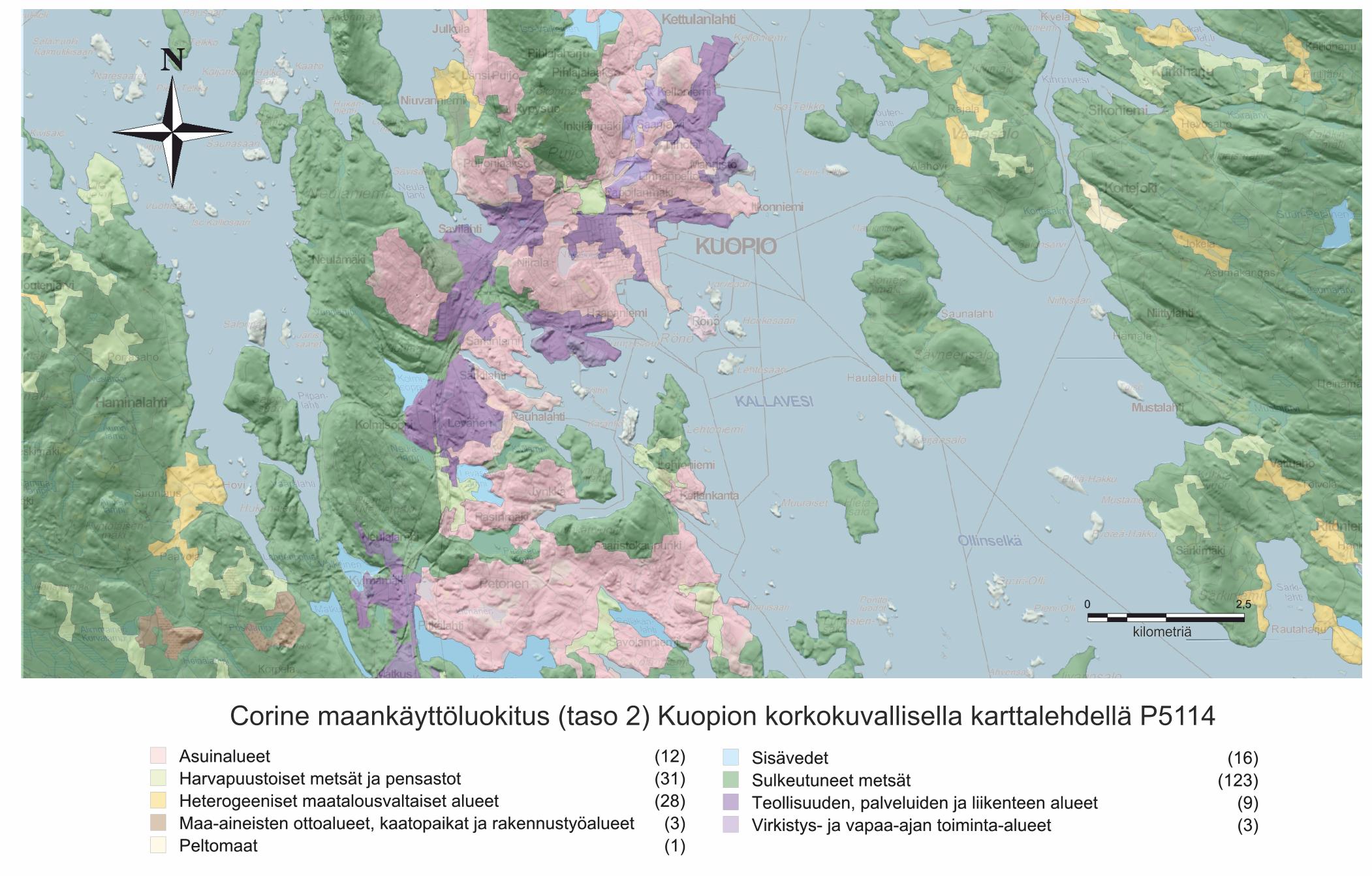 Corine maankäytönluokittelu Kuopion karttalehdellä