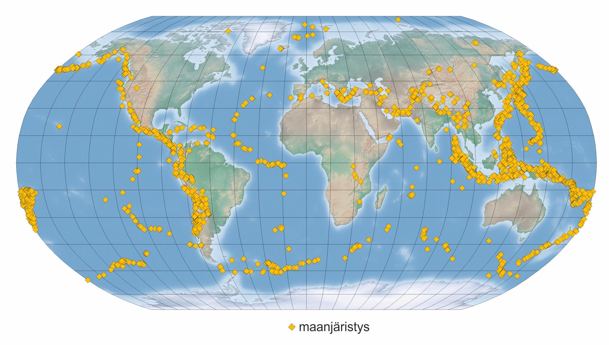 Kuva 1 Maailman maanjäristykset