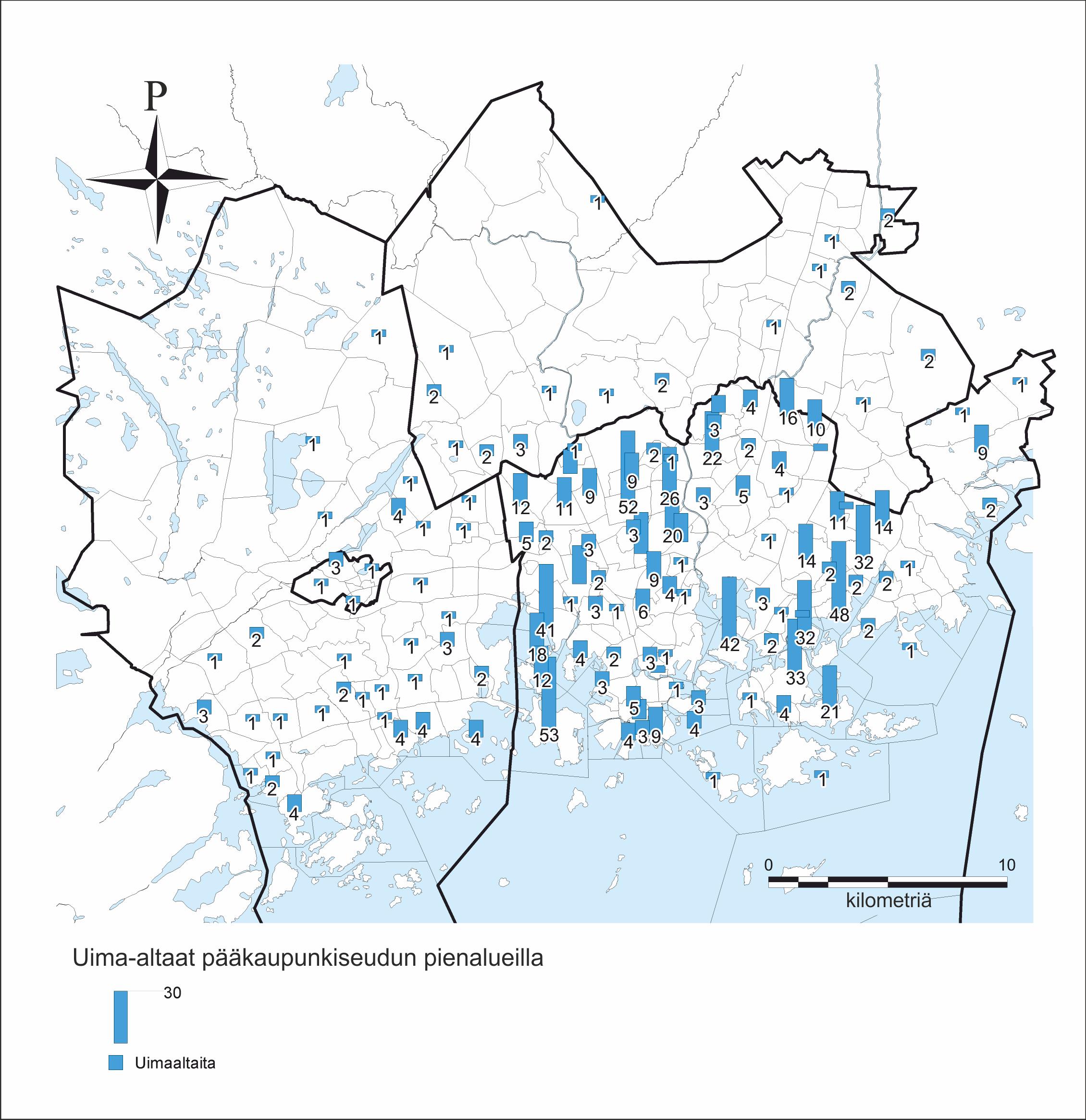 Uima-altaiden lukumäärä Helsingin pienalueilla