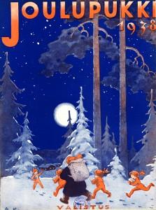 Joulupukki_tontut_metsässä_1938_Muokattu