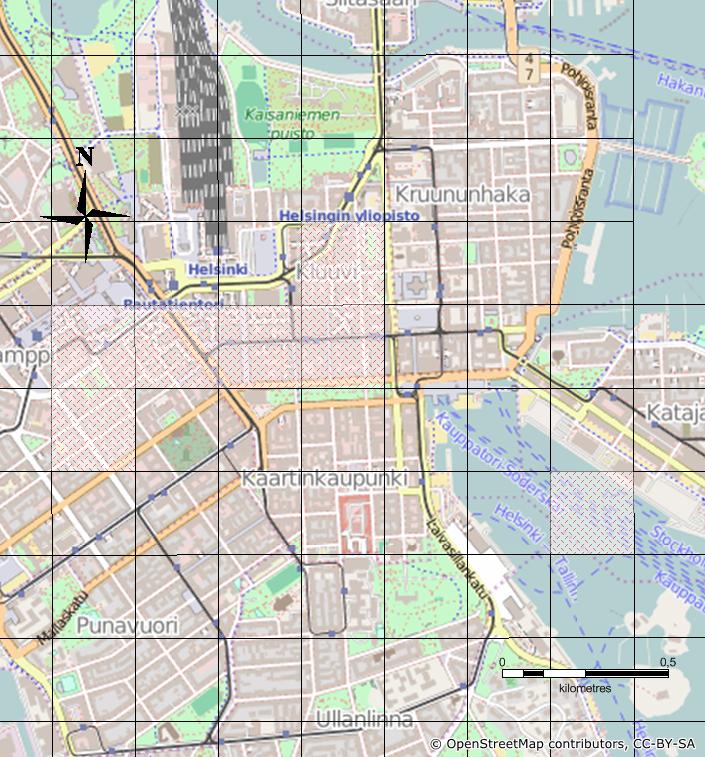 Kuva 3. PK-seudun seitsemän aluetehokkuudeltaan suurinta ruutua (arvot välillä 3.10 – 3.90). Mitähän mahtaa sijaita meressä Kauppatorin edustalla? (Lähde: HSY rakennustietoruudukko 2013, avoin data. Open StreetMap)