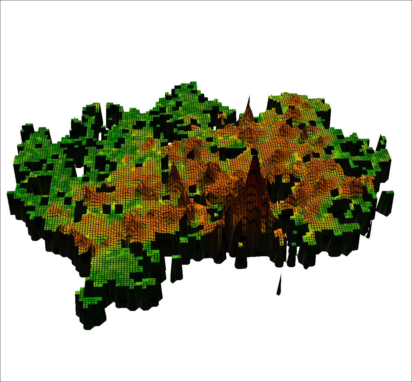 Kuva 4. Pk-seudun aluetehokkuus 250 m ruutukoolla muutettuna 3D-muotoon. (Lähde: HSY rakennustietoruudukko 2013)