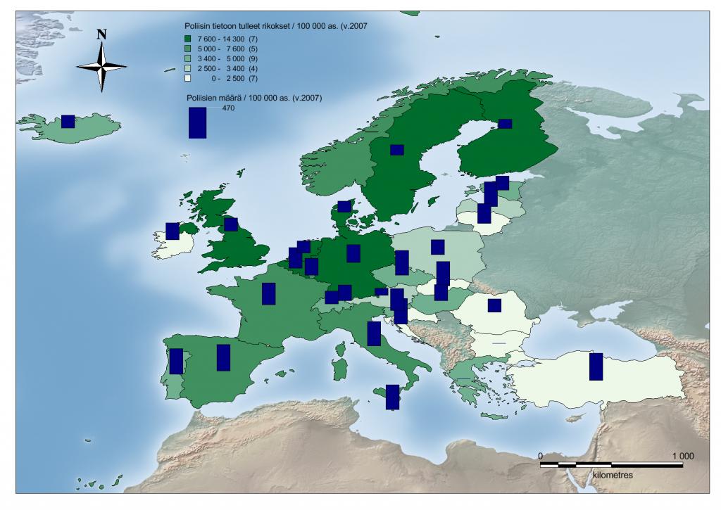 Kuva 1. Poliisin kirjaamat rikokset vuonna 2007 (/100 000 as.), sekä poliisien määrä (/100 000 as.) Lähde: Eurostat