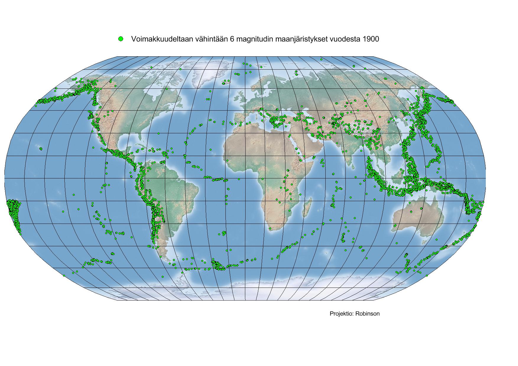 Kuva 1. Vähintään 6 magnitudin maanjäristykset alkaen vuodesta 1900. (Lähde: NOAA)