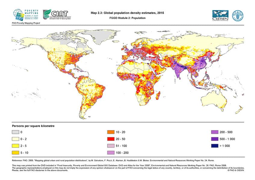 Kuva 3. Ennuste väestöntiheydestä vuodelle 2015. (Lähde: FAO)