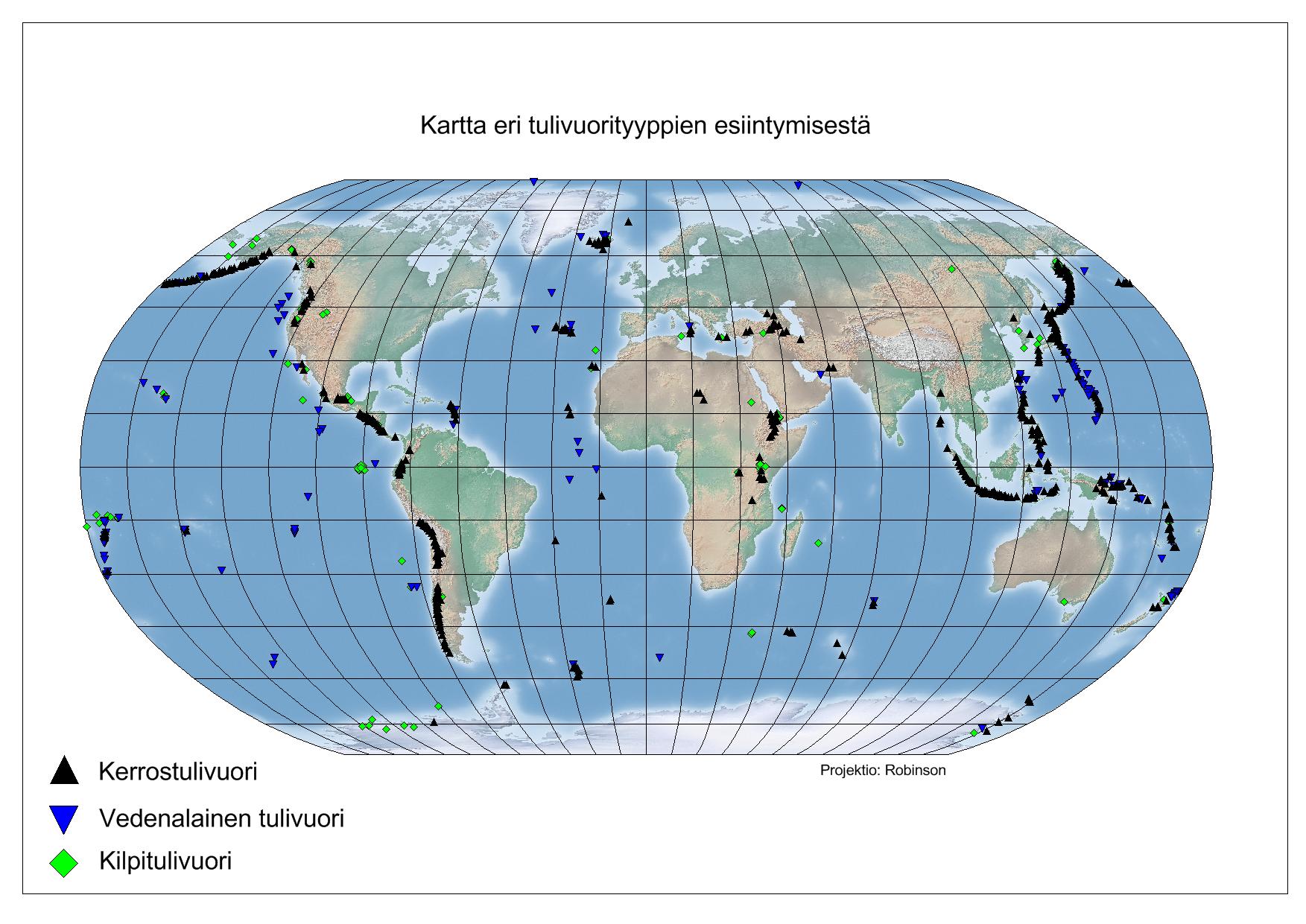 Kuva 4. Kartta erilaisten tulivuorityyppien esiintymisestä. (Lähde: NOAA)