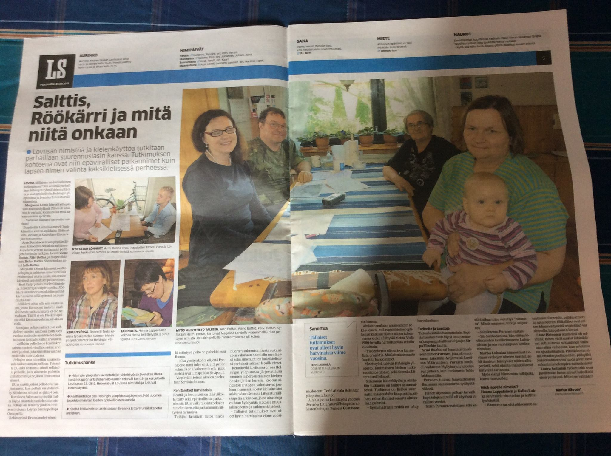Tutkimuksemme sai julkisuutta lehdissä. Tässä Loviisan Sanomat.