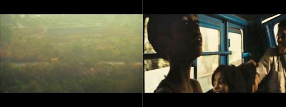 """Ensimmäisessä otoksessa """"minibussi ajaa tiellä"""". Seuraavassa otoksessa """"Jamal ja Salim istuvat bussissa muiden lasten keskellä"""". Tarkoituksena on ymmärtää, että nyt kurkistetaan juuri nähdyn bussin sisään. (Kuvat: Slummien miljonääri -elokuva.)"""