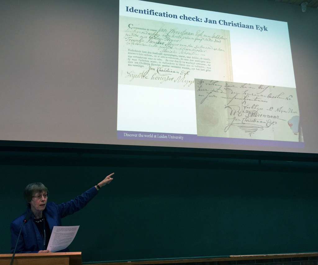 Dr. van der Wal explains how authors were identified with the help of the Amsterdam marriage register