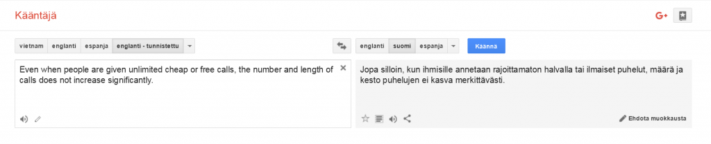 Screenshot Google Translate -palvelusta