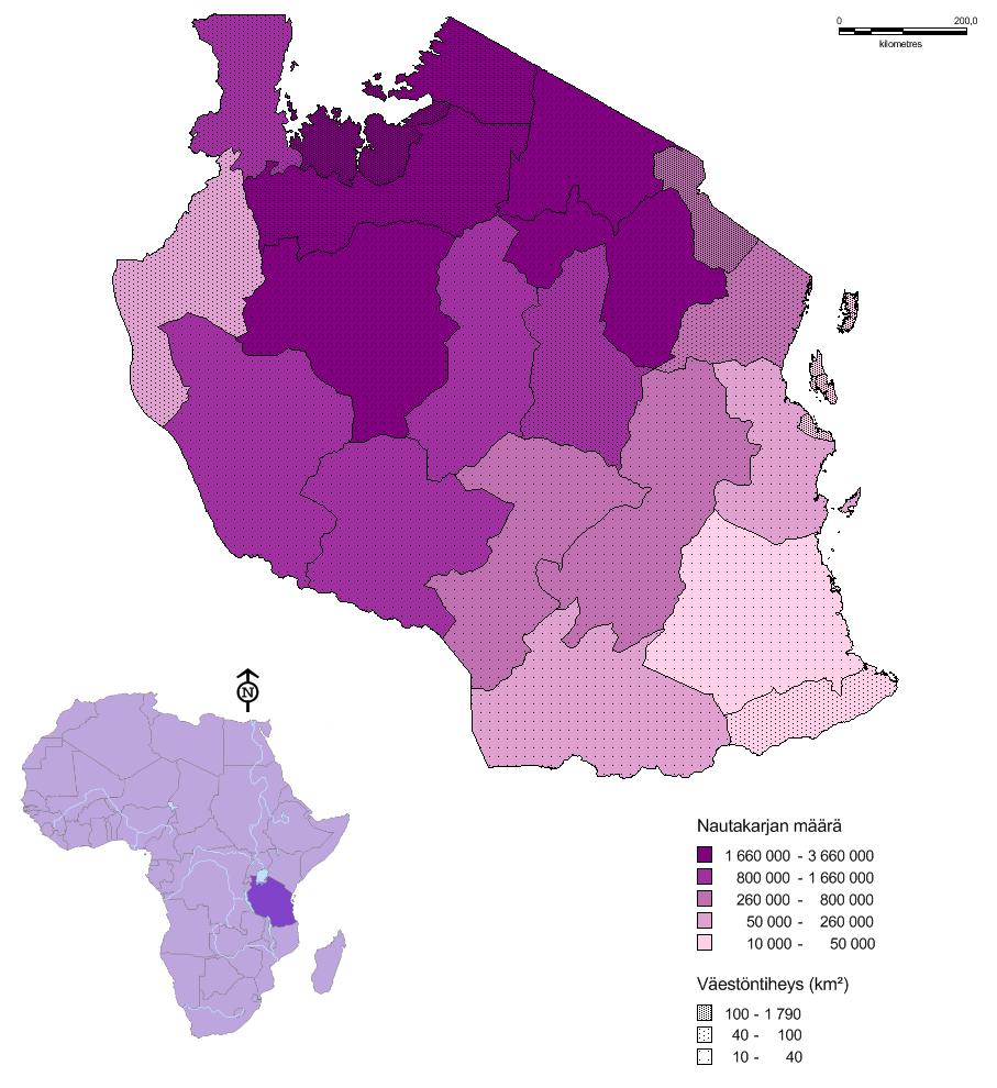 Väestöntiheys neliökilometriä kohti 2002 ja nautakarjan määrä 2008.