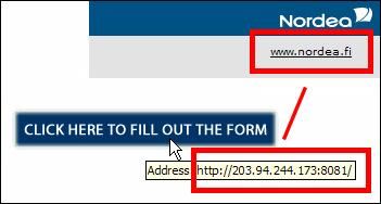 linkin tarkistus ennen sen klikkausta paljasti sen johtavan ties minne pankin sijaan