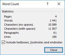 Word count -ikkuna Wordissa listaa mm. sanamäärän sekä merkkimäärän välilyöntien kanssa ja ilman