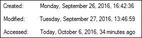 properties-ikkunassa tiedoston luonti- muokkaus- ja avaamispäivämäärät