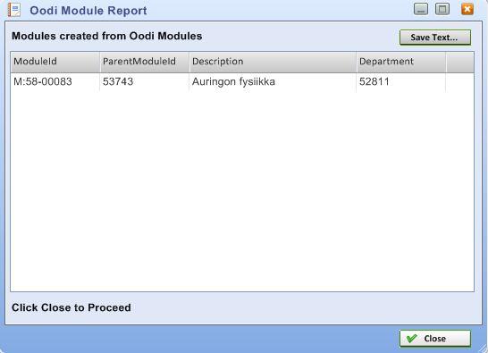 Oodi Module Report