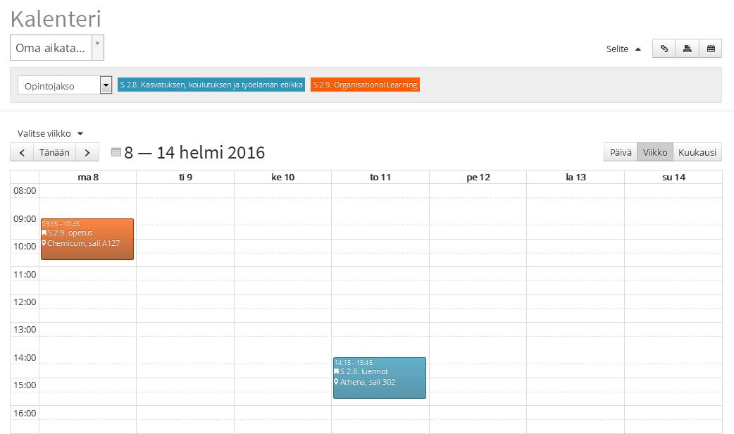 Kuvassa näkyy esimerkki Optimen kalenterinäkymästä.