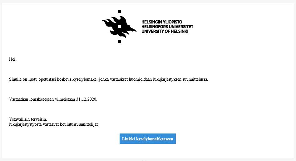 Kuvassa näkyy esimerkki sähköpostiviestistä, joka opettajalle lähetetään Optimesta, kun lomake on luotu.