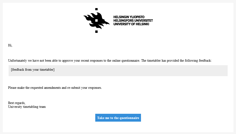 Image showing the e-mail sent if the questionnaire is sent back for revisions.