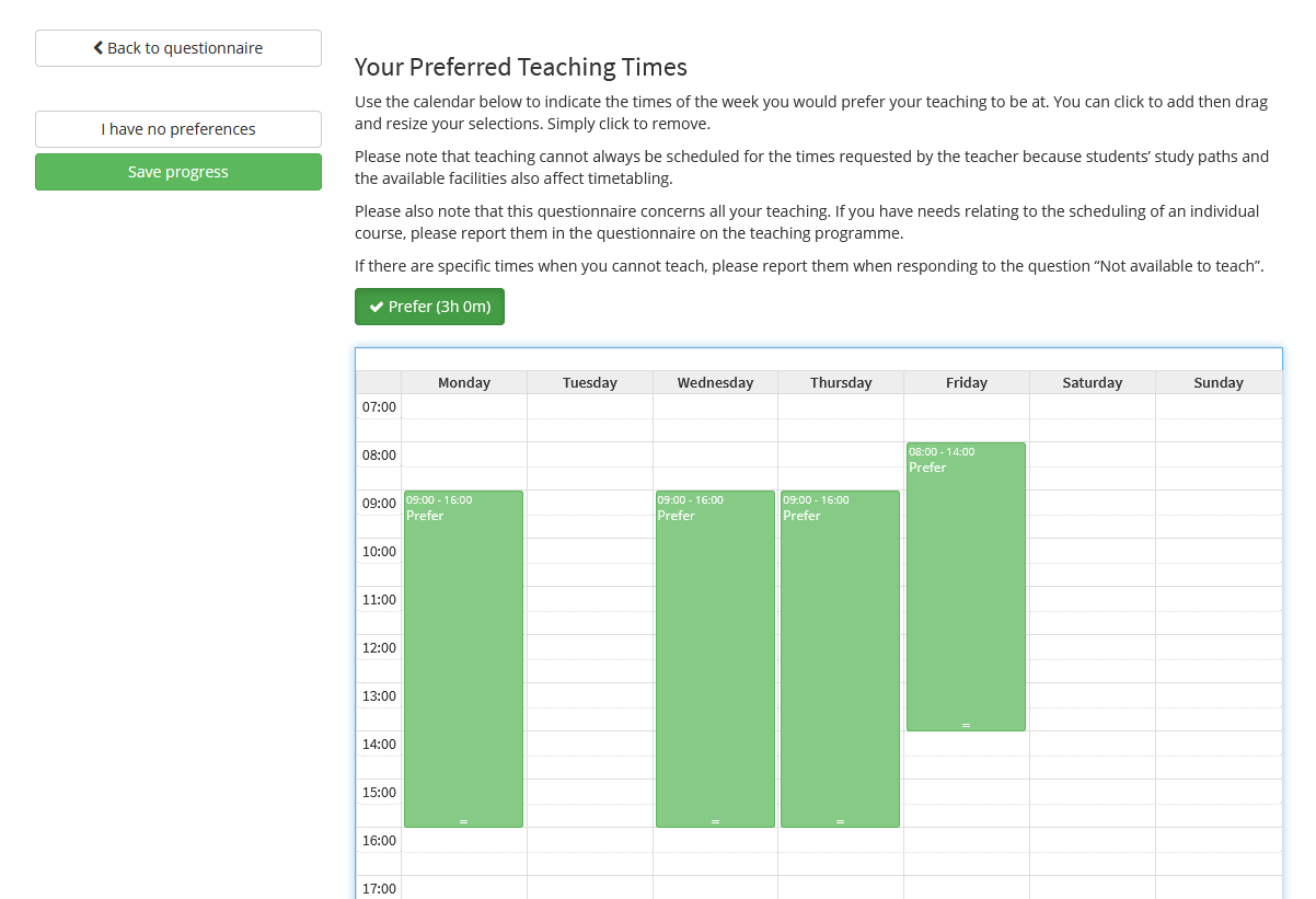 Image showing the selection window for preferred teaching times.
