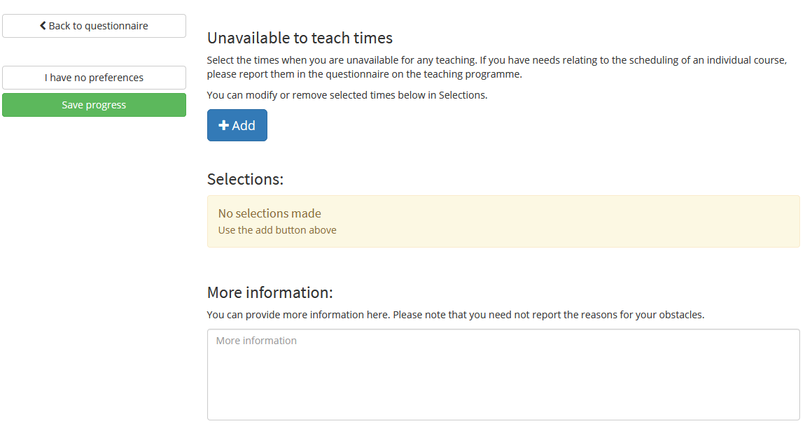 Image showing the Unavailable to Teach Times section on the questionnaire.