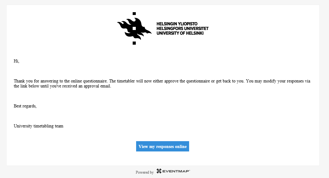 Image showing the e-mail confirmation sent after the questionnire has been completed and sent.