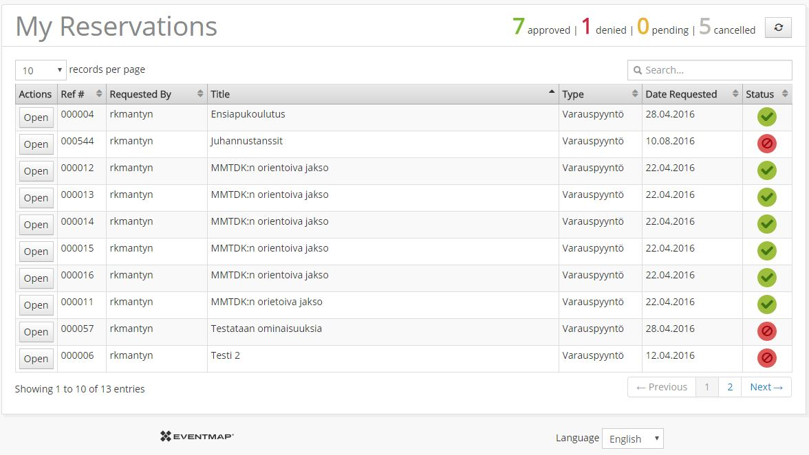 Image showing list of events in My Reservations view.