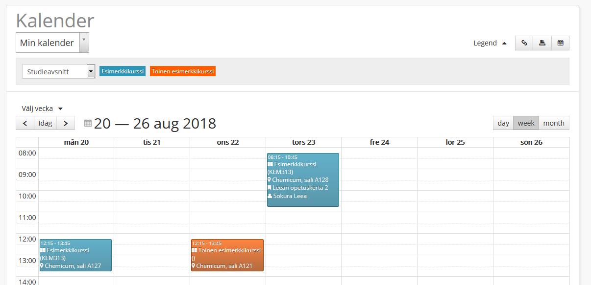 Bilden visar kalendervyn i Optime.
