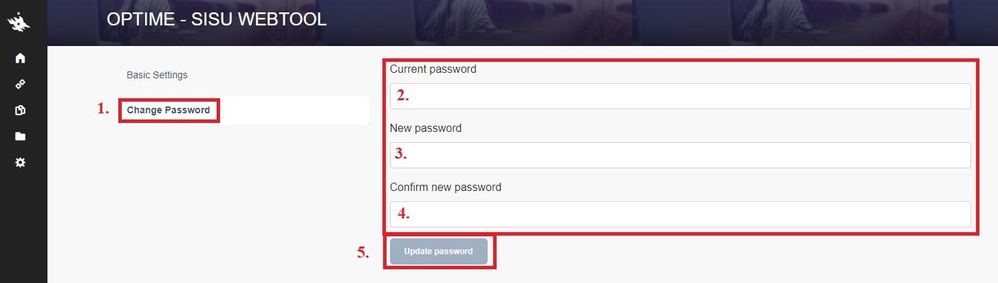 Kuvassa näkyy Change Password -linkin sijainit näytöllä.